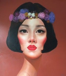 WOMAN WITH FLOWER CROWN, by Kowit Wattanarach (b1976, Bangkok, Thailand)