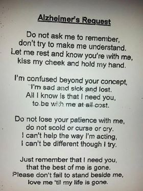 Really supportive words if a loved one has dementia