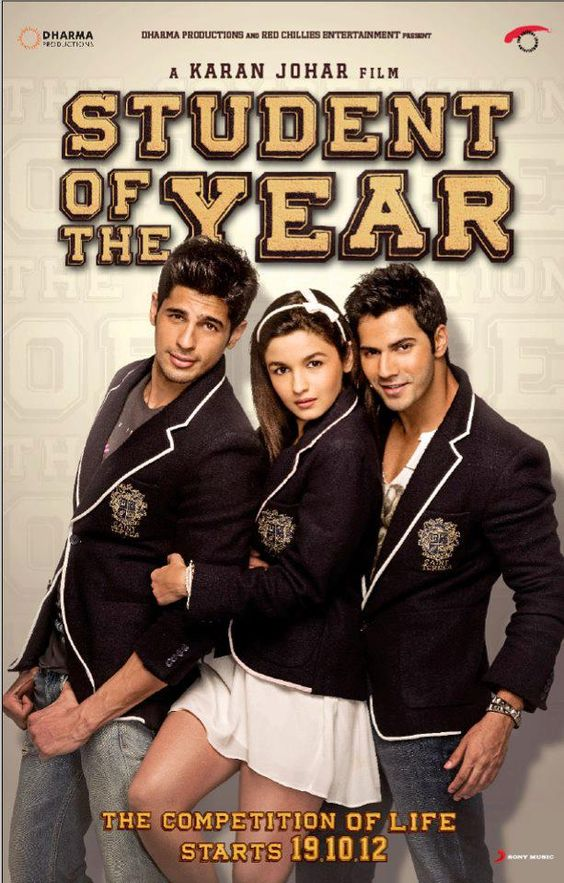 Indian Bollywood Hindi Film Actors Sidharth Malhotra, Varun Dhawan and Alia Bhatt in Student of the Year (2012) - highest grossing Indian Bollywood film starring newcomers