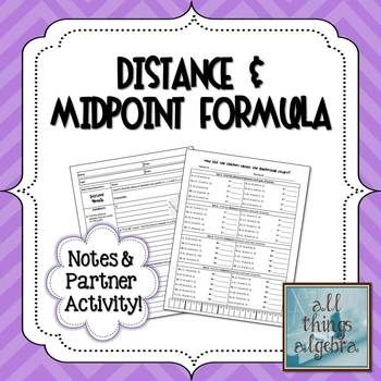 Printables Activity Worksheet Distance And Midpoint Exploration Answers using the distance formula math aids com pinterest mid point notes partner activity