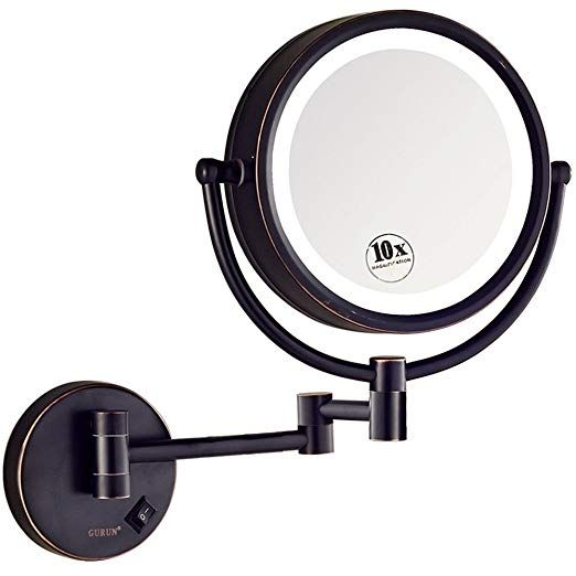 Amazon Com Gurun 8 5 Inch Led Lighted Wall Mount Makeup Mirror With 10x Magnification Gold Finish M1809dj 8 5in 10x Bea Wall Mounted Makeup Mirror Led Mirror Magnifying Mirror