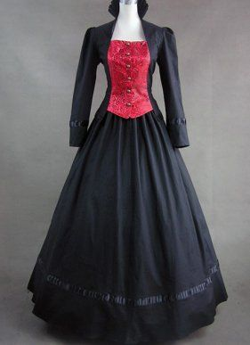 Black and Red Long Sleeves Gothic Victorian Dress
