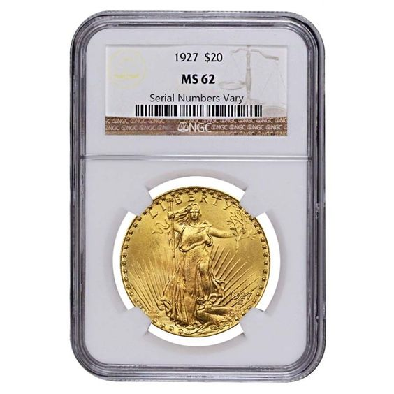 1927 $20 Gold St. Gaudens Double Eagle Coin NGC MS 62