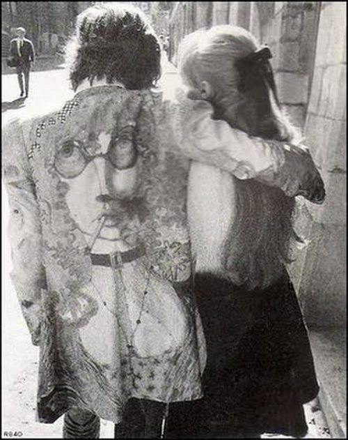 His jacket. Mick Jagger and Marianne Faithfull