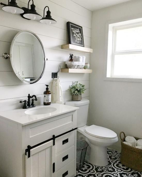 20 Small Farmhouse Bathroom And Easy Tips Small Bathroom Decor Small Bathroom Remodel Bathrooms Remodel Gathering ideas for half bathroom
