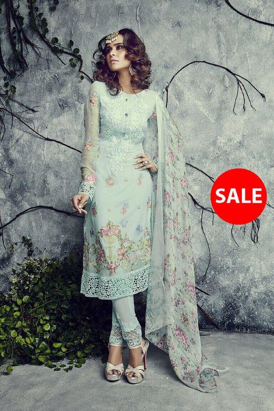 Aqua color Georgette fabric Designer Suit - Salwar Kameez- Indian ...