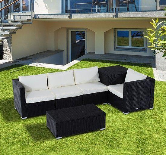 Garden Black Rattan Sofa Set Beige Cushion Steel Frame Table