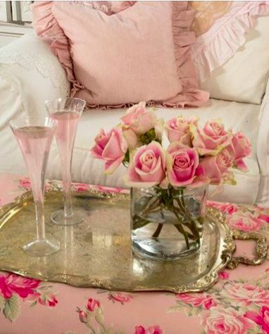 fabulousfifi.typepad.com: Pink Roses, Pink Champagne, Pretty Pink, Shabby Chic, Silver Trays, Romantic Decor, Living Room, Romantic Shabby, Rose Cottage