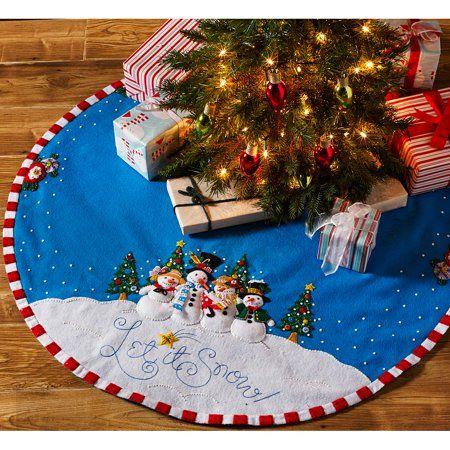 Bucilla Seasonal Felt Tree Skirt Kits Walmart Com Felt Christmas Tree Felt Christmas Christmas Tree Skirt