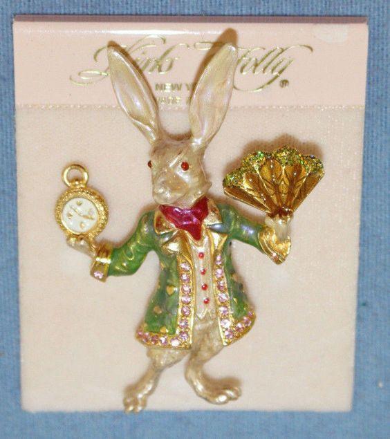 Kirks Folly Rare Alice In Wonderland Gold Tone White Rabbit Pin