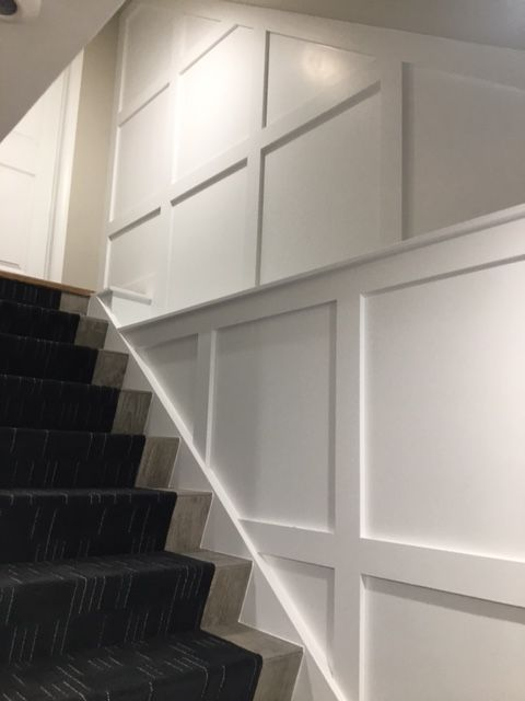 Contemporary Basement Stairwell Wainscoting Wainscoting Residential Design Basement Design
