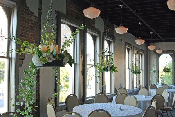 The Cypress Loft hanging centerpieces for wedding reception. Florals by Jester's-Tuscaloosa, AL