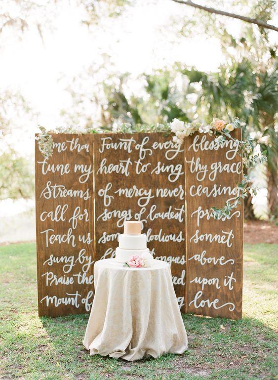 "Wedding Backdrop Hymn ""Come Thou Fount"" - http://www.letteredlife.com/wedding/  So beautiful!!"