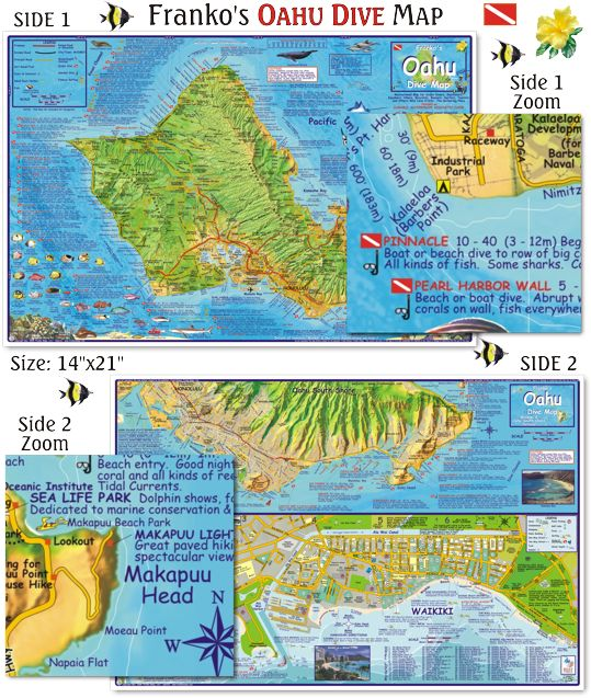 Oahu dive map beautiful detailed map and guide to all for Fishing spots oahu