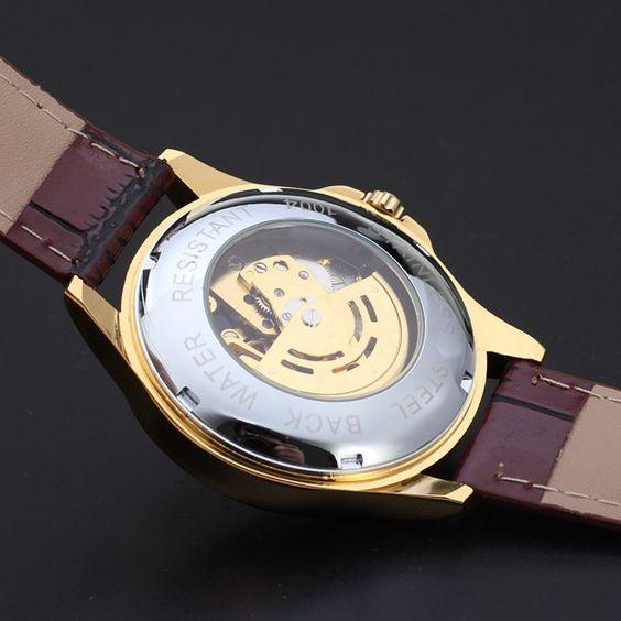 WINNER Men Gold Self-Winding Skeleton Watch Dial Automatic Mechanical