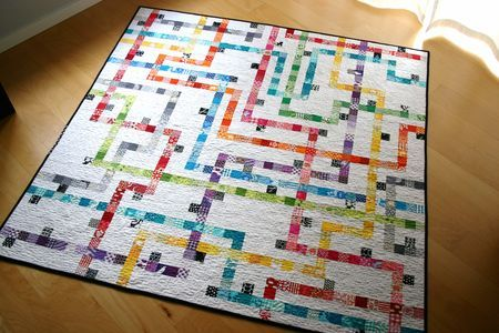 I am making this.  Just need to cut out all the whites... oh, and sew them together.  Tokyo Subway Map Quilt by Elizabeth Hartman