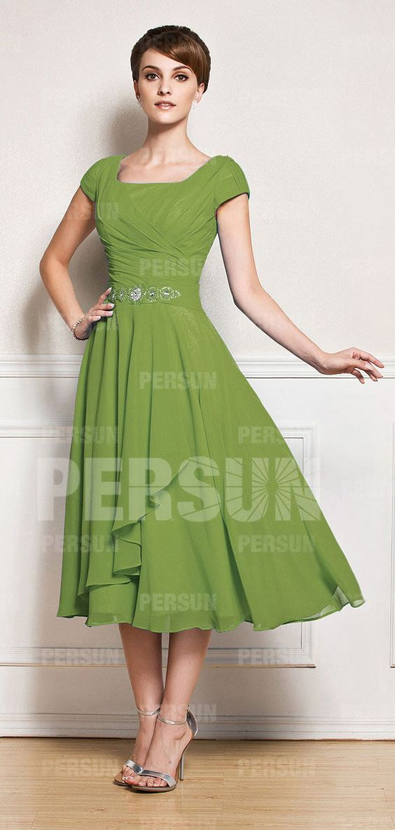Tea-length Pepper Stem Green Dress for Elder bridesmaids