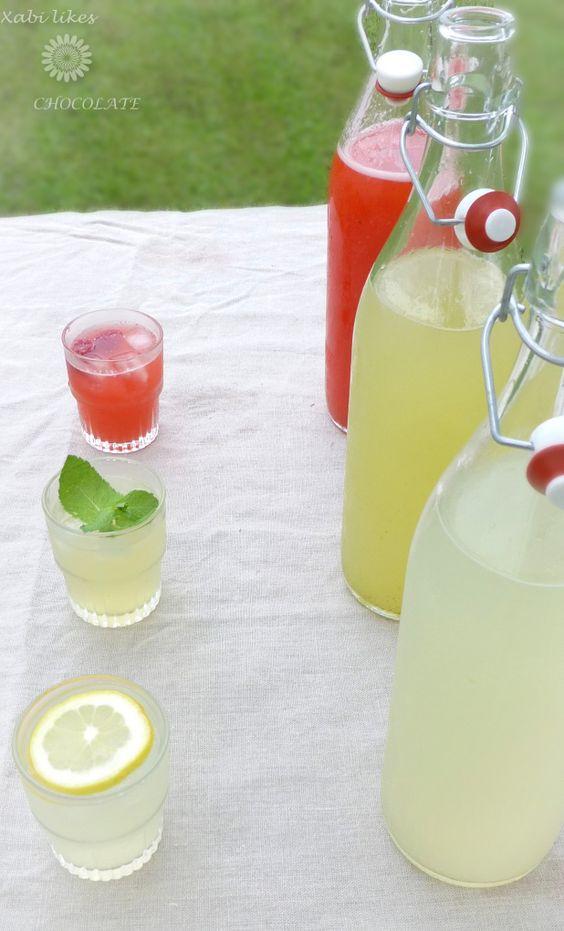 Limonadas variadas, limonada sin azúcar, limonada de jengibre, limonada de lima y menta, limonada de frambuesa, bebidas sin azúcar, receta d...