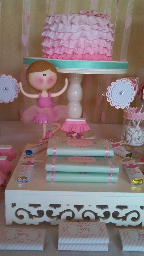 Pretty pink ruffle ombre cake at a ballerina birthday party!  See more party ideas at CatchMyParty.com!