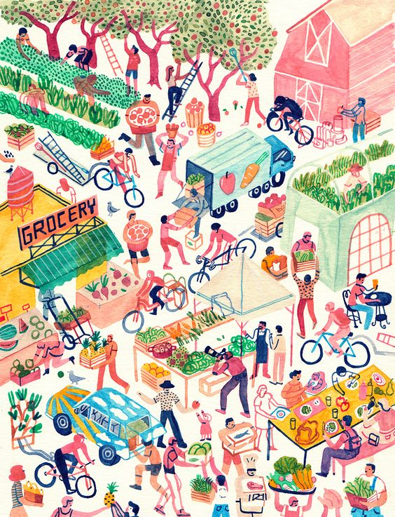 monicatramos: You can see an illustration I did for an article on gleaning (collecting of food that would normally go to waste, and donating it to the needy) in this month's issue of Vegetarian Times !