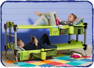 KidBunk. portable for camping trips Grandma's house alike. Also can be used as 2 individual cots or converts to a bench. pretty cool :)