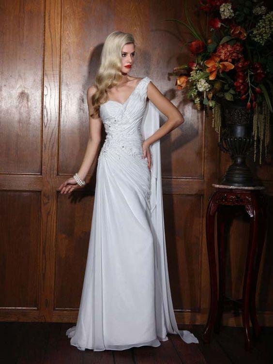 2015 Style Sheath/Column One Shoulder Sweep/Brush Train Organza Wedding Dresses #QS639