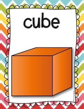 Freebie! Here's a set of posters on 3-D shapes. Includes cylinder, cube, pyramid, sphere, and cone.