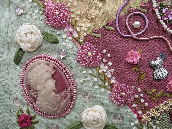 I ❤ crazy quilting . . Leonie's block - a close up- This is a close-up of Leonie's block. The pink beaded flowers are stunning! I absolutely love the beaded cab.
