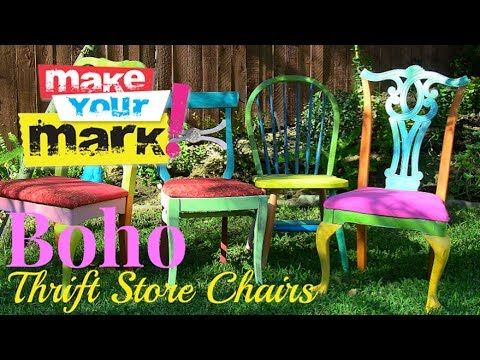 Give your mismatched thrift store chairs a bohemian makeover in no time! It's super easy to do with Americana Decor Chalky Finish paints (http://decoart.com/...