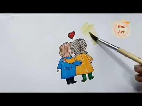 رسم سهل للاطفال الصداقه والاصدقاء تعليم الرسم خطوه بخطوه للمبتدئين Youtube Girl Drawing Drawings
