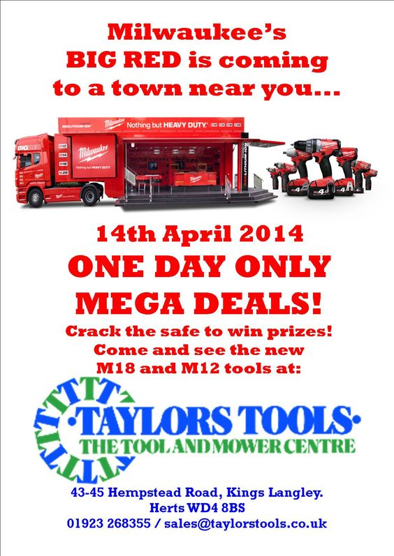 Come and see Milwaukee's Big Red truck at Taylors Tools Ltd. See pin for details.