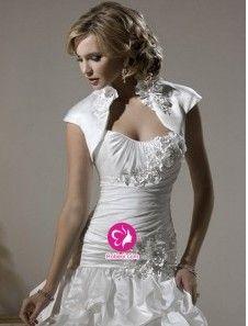 A-ligne Col en cœur Traîne moyenne Robe de mariée en Taffetas avec Fleurs manuelles Ruché Ruches(FR0254531)