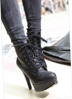 Lace Up High Heel Ankle Boots