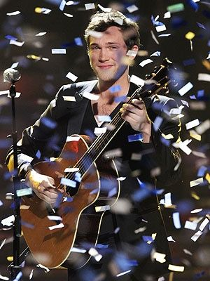"""Winning American Idol Season 11. He couldn't make it through his coronation song, """"Home"""" without crying.  Love him!"""