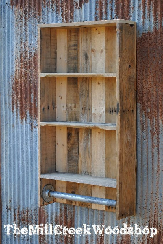 Easy enough to build like the idea of adding pipe as a for Bathroom ideas made from pallets