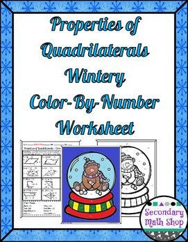 quadrilaterals properties of quadrilaterals color by number wintery worksheet the o 39 jays. Black Bedroom Furniture Sets. Home Design Ideas