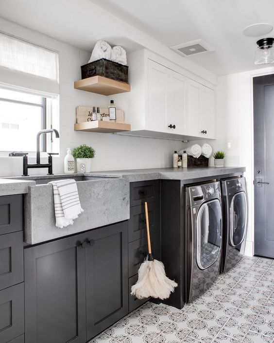 "Brandon Architects on Instagram: ""•Concrete countertops + a dark and moody washer/dryer, if laundry must exist as a chore, it's only fair the laundry room reflect our…"""