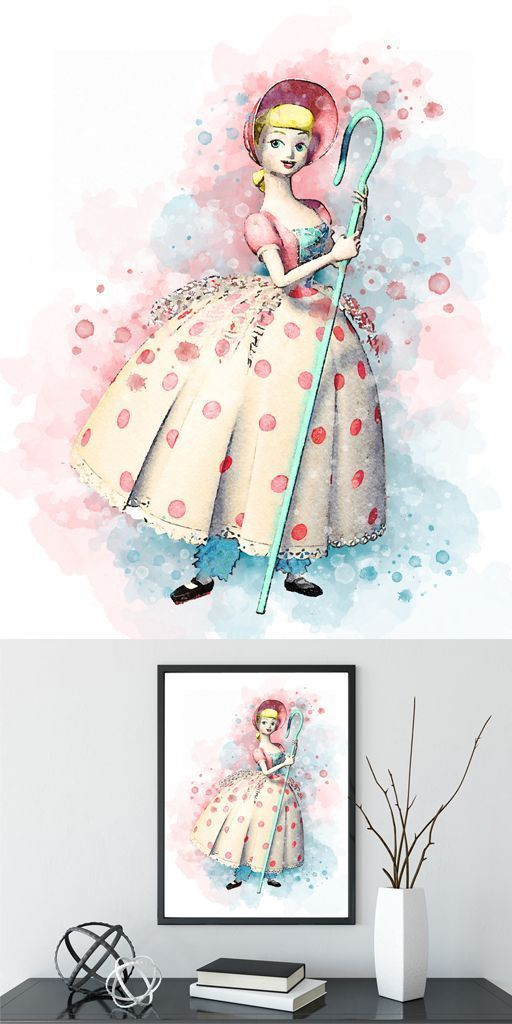 Little Bo Peep Toy Story Aquarell Home Arts Dekor Cartoon