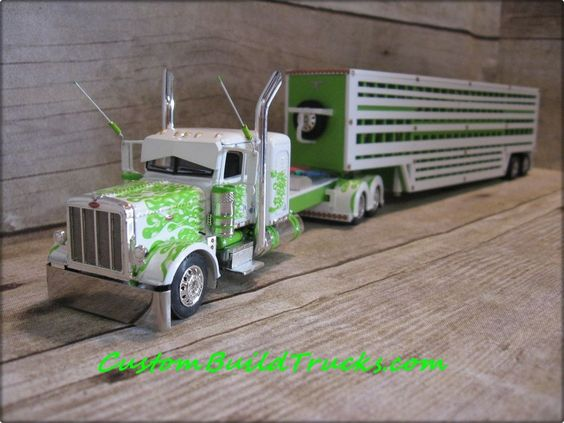 Custom DCP Peterbilt old school stretched frame W/ cattle pot trailer 1/64