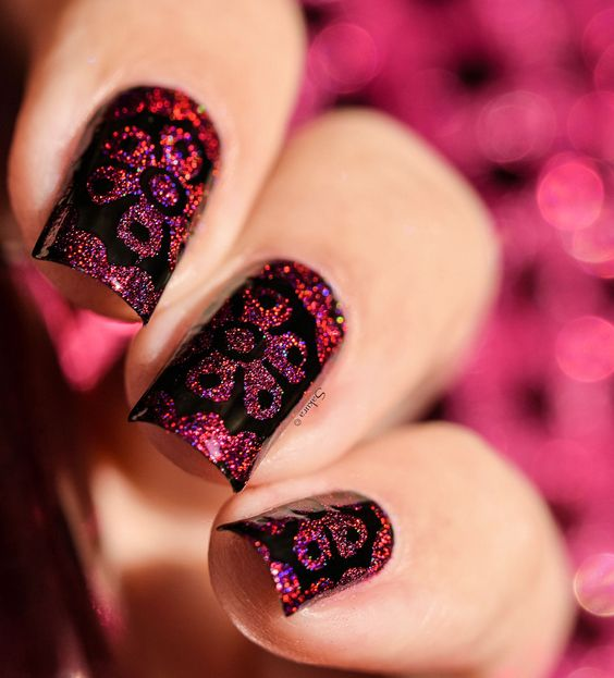 Colors by llarowe Stamping Polish - The Heart Bleeds over black by @nailartsakura on Instagram.