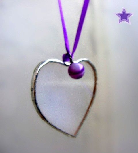 Heart Stained Glass Suncatcher Tree Ornament by GothicGlassStudio, $9.00