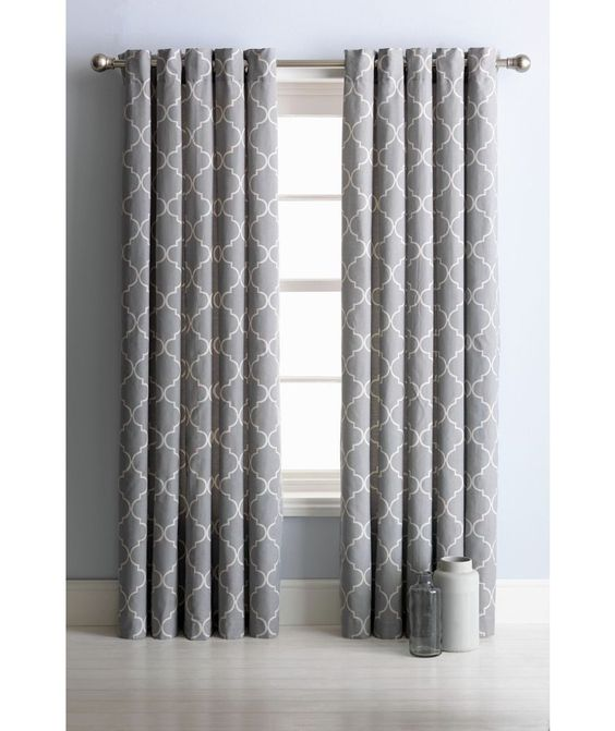 Buy Collection Trellis Lined Eyelet Curtains-117 x 137cm - Grey at ...
