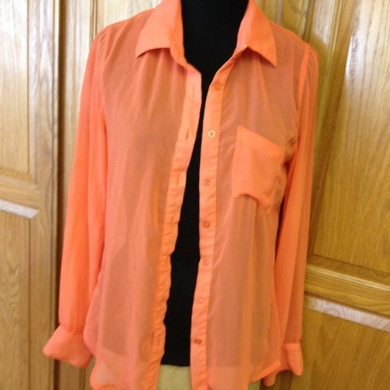 Sheer long sleeve blouse Gently worn orange in color great for summer shirt stylebook Tops Blouses
