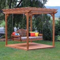 A&L Furniture Co. Red Cedar Pergola Swing Bed Set With Deck