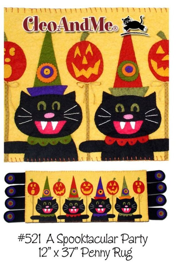 Not a finished item. This pattern will make one penny rug as pictured and described below.  Four silly cats in vintage hats, their pumpkins all