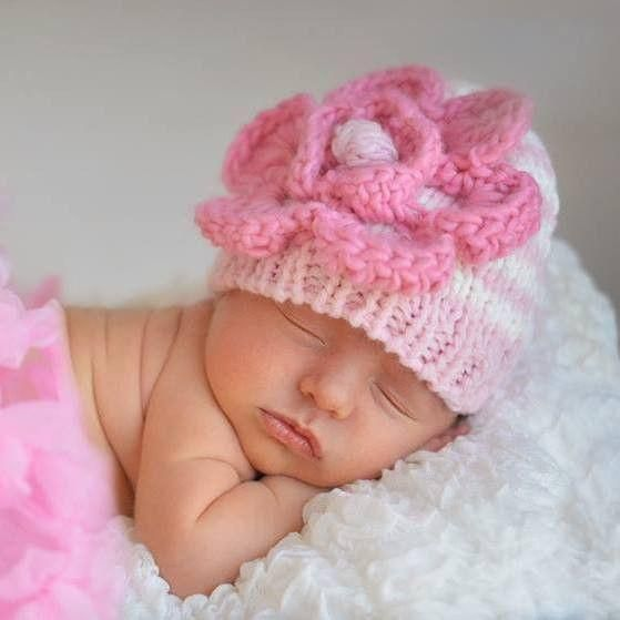 Huggalugs Baby and Toddler Girls Pink Pearl Knit Beanie Hat or Sweater