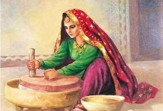 Old Punjabi Culture : Lady making wheat flour