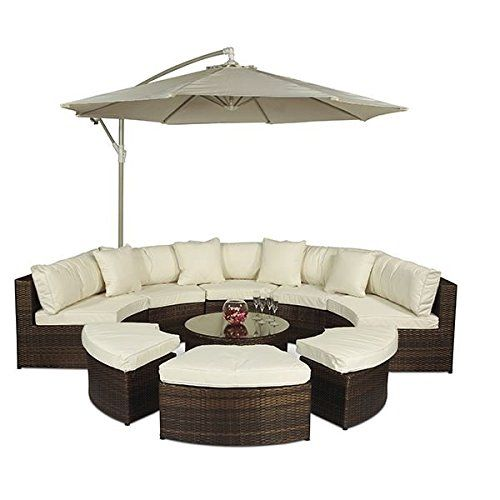 monaco large rattan sofa set semi circle with small round glass table and cushions umbrella parasol dust cover garden patio conservatory lounge