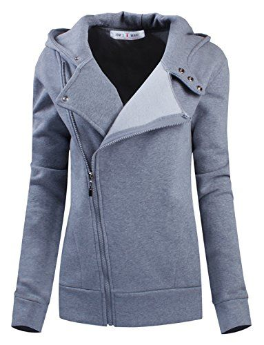 Tom's Ware Women Slim fit Zip-up Hoodie Jacket TWHD1003-GRAY-S(US ...