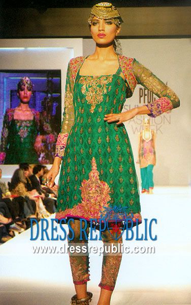 Green Huron, Product code: DR6710, by www.dressrepublic.com - Keywords: Runway Shalwar Kameez Designs, Designer Salwar Kameez, Green Party Dresses